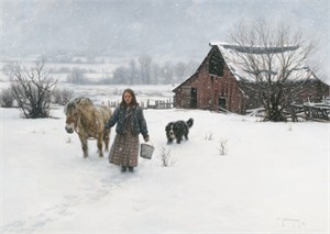 "Robert Duncan Hand Signed and Numbered Limited Edition Canvas Giclee:""December Snows"""