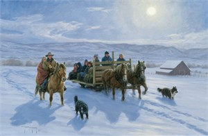 """Robert Duncan Hand Signed and Numbered Limited Edition Canvas Giclee:""""Solstice Sleigh Ride"""""""