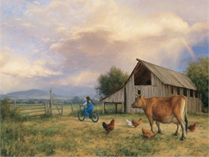 "Robert Duncan Hand Signed and Numbered Limited Edition Canvas Giclee:""Queen of the Barnyard"""