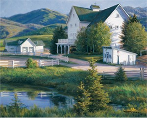 "Robert Duncan Hand Signed and Numbered Limited Edition Canvas Giclee:""The Mountain Ranch"""