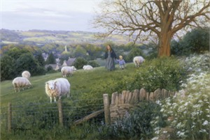 "Robert Duncan Hand Signed and Numbered Limited Edition Canvas Giclee:""Cotswold Evening"""