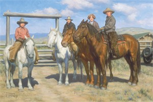 "Robert Duncan Hand Signed and Numbered Limited Edition Canvas Giclee:""The Girls Out West"""