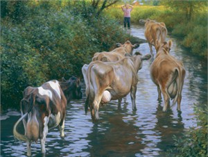 "Robert Duncan Hand Signed and Numbered Limited Edition Canvas Giclee:""Come On Girls"""