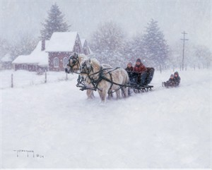 "Robert Duncan Hand Signed and Numbered Limited Edition Canvas Giclee:""Time For a Sleighride"""