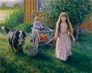 "Robert Duncan Hand Signed and Numbered Limited Edition Canvas Giclee:""From the Garden"""