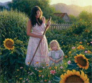 "Robert Duncan Hand Signed and Numbered Limited Edition Canvas Giclee:""Her First Garden"""