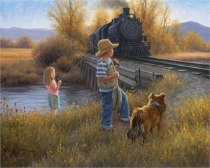 "Robert Duncan Hand Signed and Numbered Limited Edition Canvas Giclee:""Fishin' at the Bridge"""