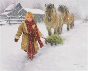 """Robert Duncan Hand Signed and Numbered Limited Edition Canvas Giclee:""""Hay for My Friends"""""""
