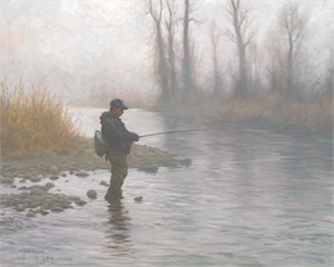 "Robert Duncan Hand Signed and Numbered Limited Edition Canvas Giclee:""A Foggy Morning on the River"""
