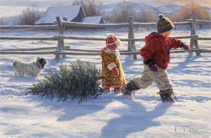 "Robert Duncan Hand Signed and Numbered Limited Edition Canvas Giclee:""Country Sleighride"""