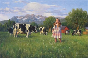 "Robert Duncan Hand Signed and Numbered Limited Edition Canvas Giclee:""Wishes in the Meadow"""