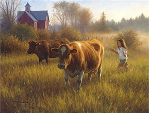 "Robert Duncan Open Edition Canvas Giclee:""Time For Milking"""