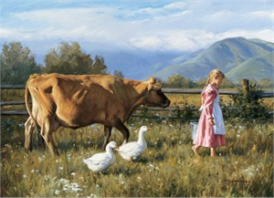 """Robert Duncan Hand Signed and Numbered Limited Edition Canvas Giclee:""""The Morning Walk"""""""