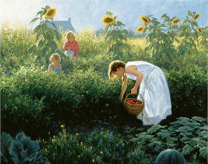 "Robert Duncan Hand Signed and Numbered Limited Edition Canvas Giclee:""Under the Sunflowers"""