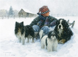 "Robert Duncan Hand Signed and Numbered Limited Edition Canvas Giclee:""Boys Best Friends"""