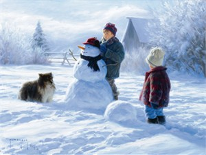 "Robert Duncan Hand Signed and Numbered Limited Edition Canvas Giclee:""Winter Friends"""