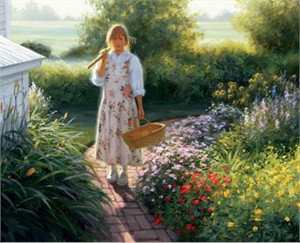 "Robert Duncan Hand Signed and Numbered Limited Edition Canvas Giclee:""Grandma's Garden"""