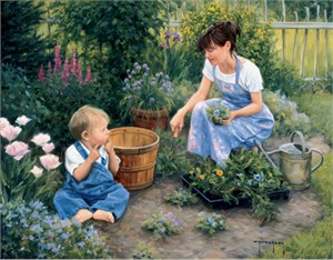 "Robert Duncan Hand Signed and Numbered Limited Edition Canvas Giclee:""Planting More Than Flowers"""