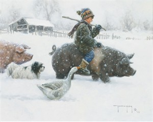 "Robert Duncan Hand Signed and Numbered Limited Edition Canvas Giclee:""Piggyback"""