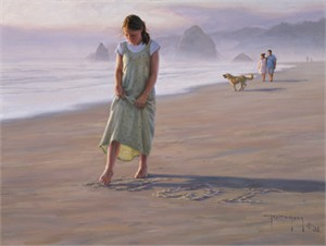 """Robert Duncan Hand Signed and Numbered Limited Edition Canvas Giclee:""""Love Letters in the Sand"""""""