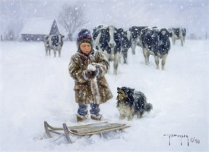 """Robert Duncan Hand Signed and Numbered Limited Edition Canvas Giclee:""""Good Snow"""""""