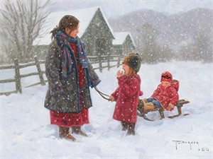 """Robert Duncan Hand Signed and Numbered Limited Edition Canvas Giclee:""""Winter Treat"""""""