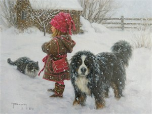 "Robert Duncan Hand Signed and Numbered Limited Edition Canvas Giclee:""Ivan and the Girls"""
