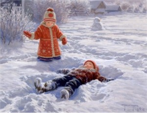 """Robert Duncan Handsigned and Numbered Limited Edition Giclee on Canvas:""""Snow Angels"""""""