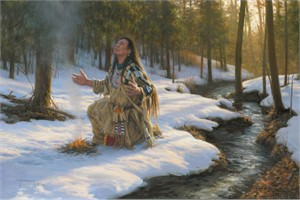 "Robert Duncan Handsigned and Numbered Limited Edition Giclee on Canvas:""A Prayer In The Forest"""