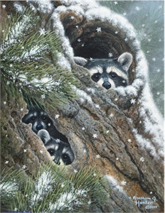 """Abraham Hunter Hand Signed and Numbered Limited Edition Embellished Canvas Giclee:""""Peek-A-Boo"""""""