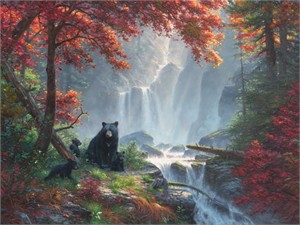 "Mark Keathley Hand Signed and Numbered Limited Edition Embellished Canvas Giclee:""Roaring Fork Retreat"""