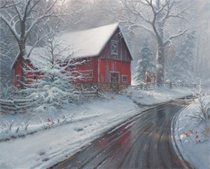 "Mark Keathley Hand Signed and Numbered Limited Edition Embellished Canvas Giclee:""Winter Magic """