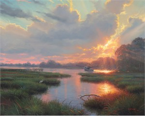 """Mark Keathley Hand Signed and Numbered Limited Edition Embellished Canvas Giclee:"""" Low Country Life"""""""