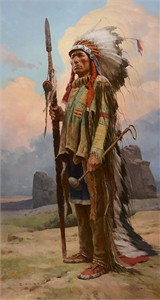 "Z. S. Liang Hand Signed Limited Edition Canvas Giclee:""	Pride of the Lakota"""