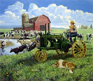 "Mort Künstler Hand Signed and Numbered Limited Edition Canvas Giclee:"" Days of Splendor - John Deere"""