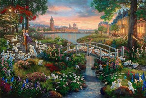"Thomas Kinkade Signed and Numbered Limited Edition Giclee Print and Hand Embellished Canvas:""101 Dalmatians"""