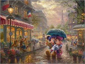 """Thomas Kinkade Disney Limited Edition:""""Thomas Kinkade - Mickey and Minnie in Paris"""""""
