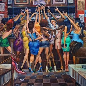 """Frank Morrison Hand Signed and Numbered Limited Edition Giclee:""""Ladies Night"""""""
