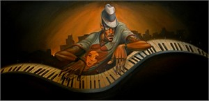 "Frank Morrison Hand Signed and Numbered Limited Edition Canvas Giclee:""Grand Master Jazz"""