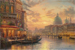 """Thomas Kinkade Limited Edition Giclee on Paper and Canvas:""""Venetian Café"""""""