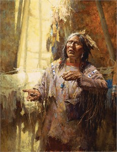 """Howard Terpning Hand Signed and Numbered Limited Edition Canvas:""""Calling the Buffalo"""""""