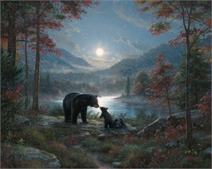 "Mark Keathley Hand Signed and Numbered Limited Edition Embellished Canvas Giclee:""Bedtime Kisses"""