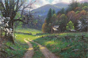 """Mark Keathley Hand Signed and Numbered Limited Edition Embellished Canvas Giclee:""""Road to Yesteryear"""""""