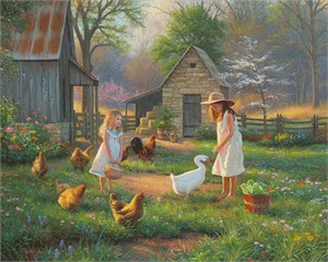 "Mark Keathley Hand Signed and Numbered Limited Edition Embellished Canvas Giclee:""Evening at Grandma's"""