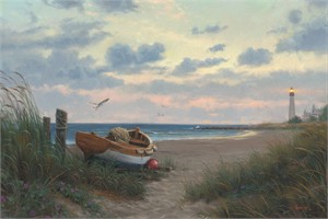 "Mark Keathley Hand Signed and Numbered Limited Edition Embellished Canvas Giclee:""Evening at the Coast"""