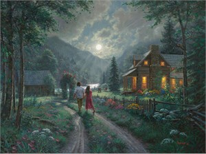 """Mark Keathley Hand Signed and Numbered Limited Edition Embellished Canvas Giclee:""""Treasured Moments"""""""