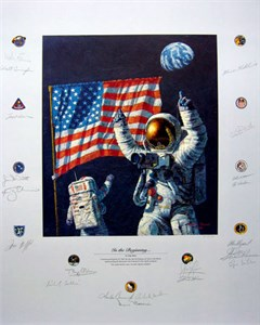 """Alan Bean Astronaut Signed Limited Edition Giclee Print:""""On the Rim"""""""