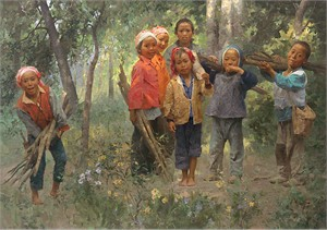 "Mian Situ Handsigned and Numbered Limited Edition Giclée Canvas:""Firewood Gang"""