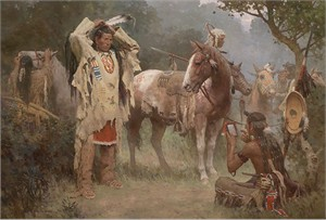 "Z.S. Liang Hand Signed and Numbered Giclée Canvas: ""Preparing for the Confrontation"""