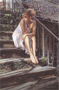 "Steve Hanks Handsigned and Numbered Limited Edition Canvas Giclee:""Contemplating the Necessary Steps"""